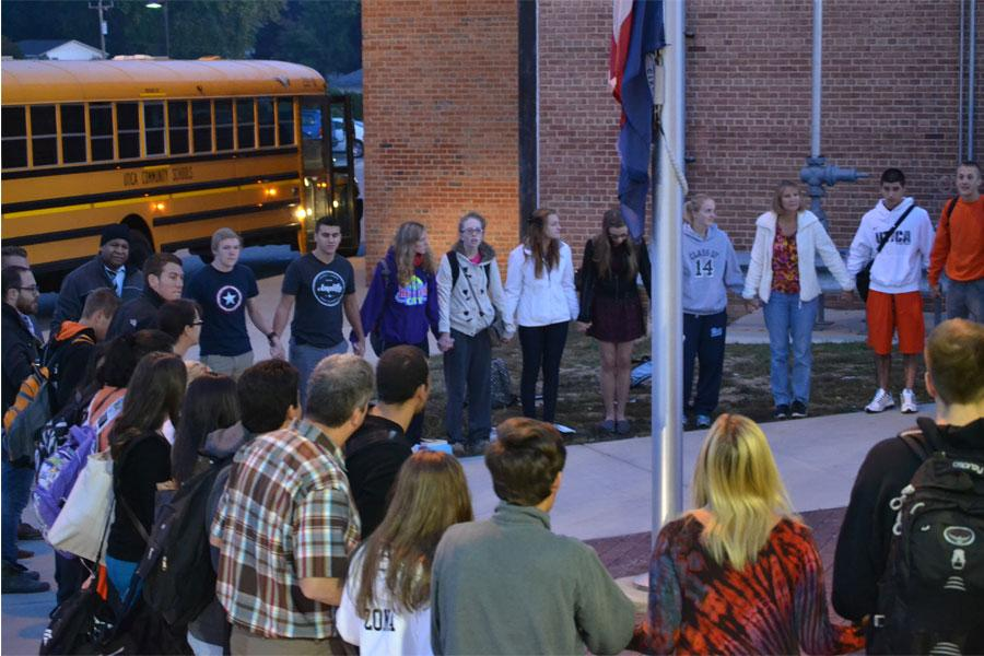 "While most were still on their way to school, approximately 65 students gathered around the flagpole at 6:45 in the morning as part of See You At The Pole, a day of prayer recognized world wide. ""It's so cool to be able to come together without getting yelled at,"" sophomore Anna Hoffman said, ""especially in such a public setting with so many different students."" Although Utica High students have always gathered by the pole for the annual event, The Tribe's advertising and tweeting helped attendance reach an all-time high."