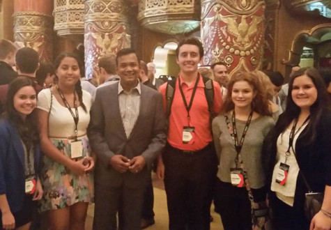 Publications students received advice from journalist Roop Raj between sessions at the Fox Theatre.