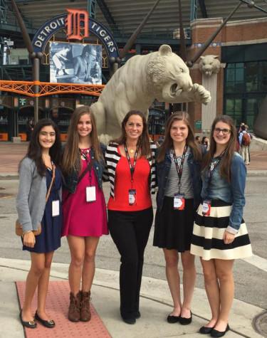 Student council members at visit Comerica Park after TEDx Detroit.