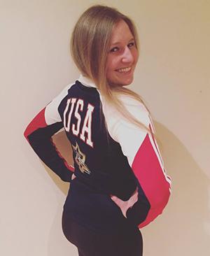 Natasha proudly represents the USA!