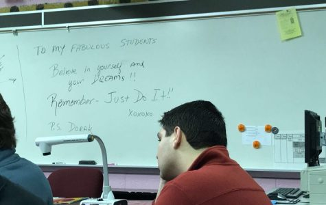 English teacher Chris Dabrowski left a message on her whiteboard before her unexpected retirement.