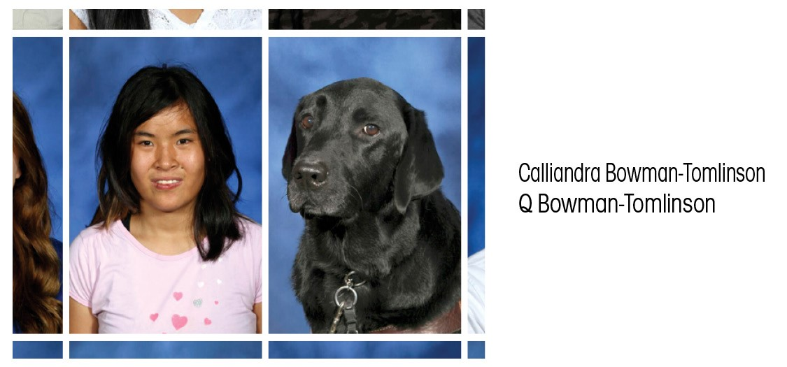 Sophomore Calli Bowman-Tomlinson's service dog, Q, was included in the sophomore class ID photos.