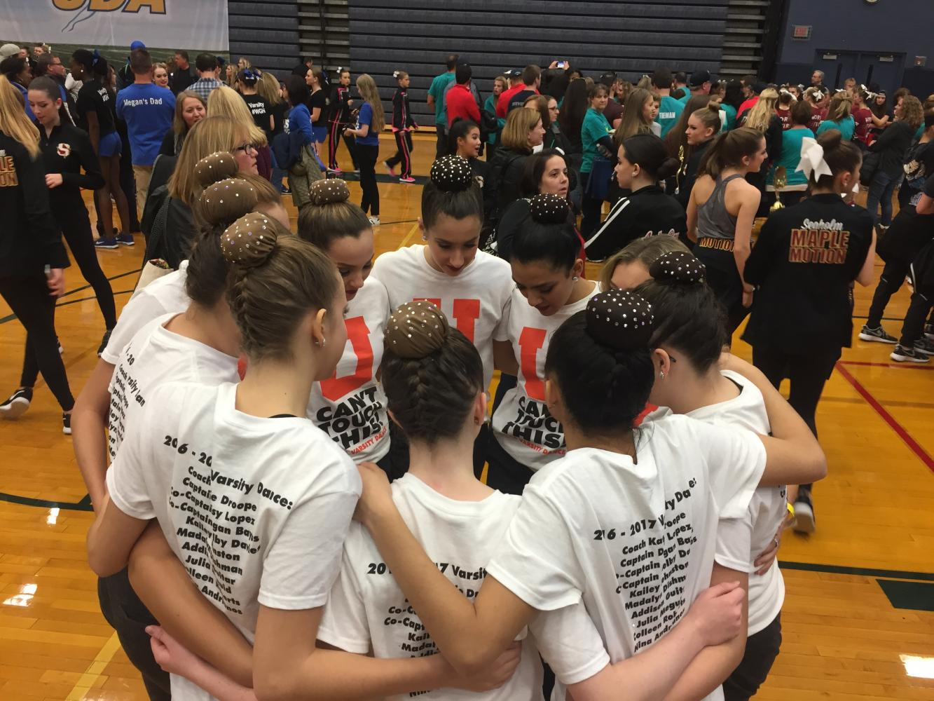 The dance team prepares for a competition