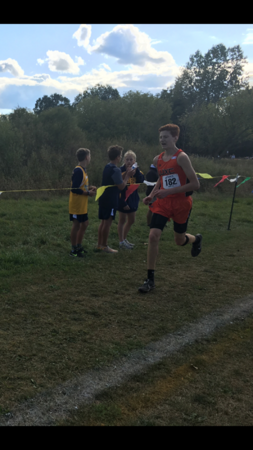 Sophomore Brennan Rylander approaches the finish line at the Waterford Cross Country Invitational.