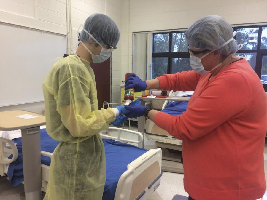 Students in medical smocks