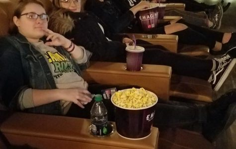 """At an opening week showing of """"Love, Simon,"""" Aubrey Zahlmann, McKenzie Sanchez, Jonathan McGee, Veronica Poker and Julia Hodsdon kick back at relax at Imagine Theatre."""