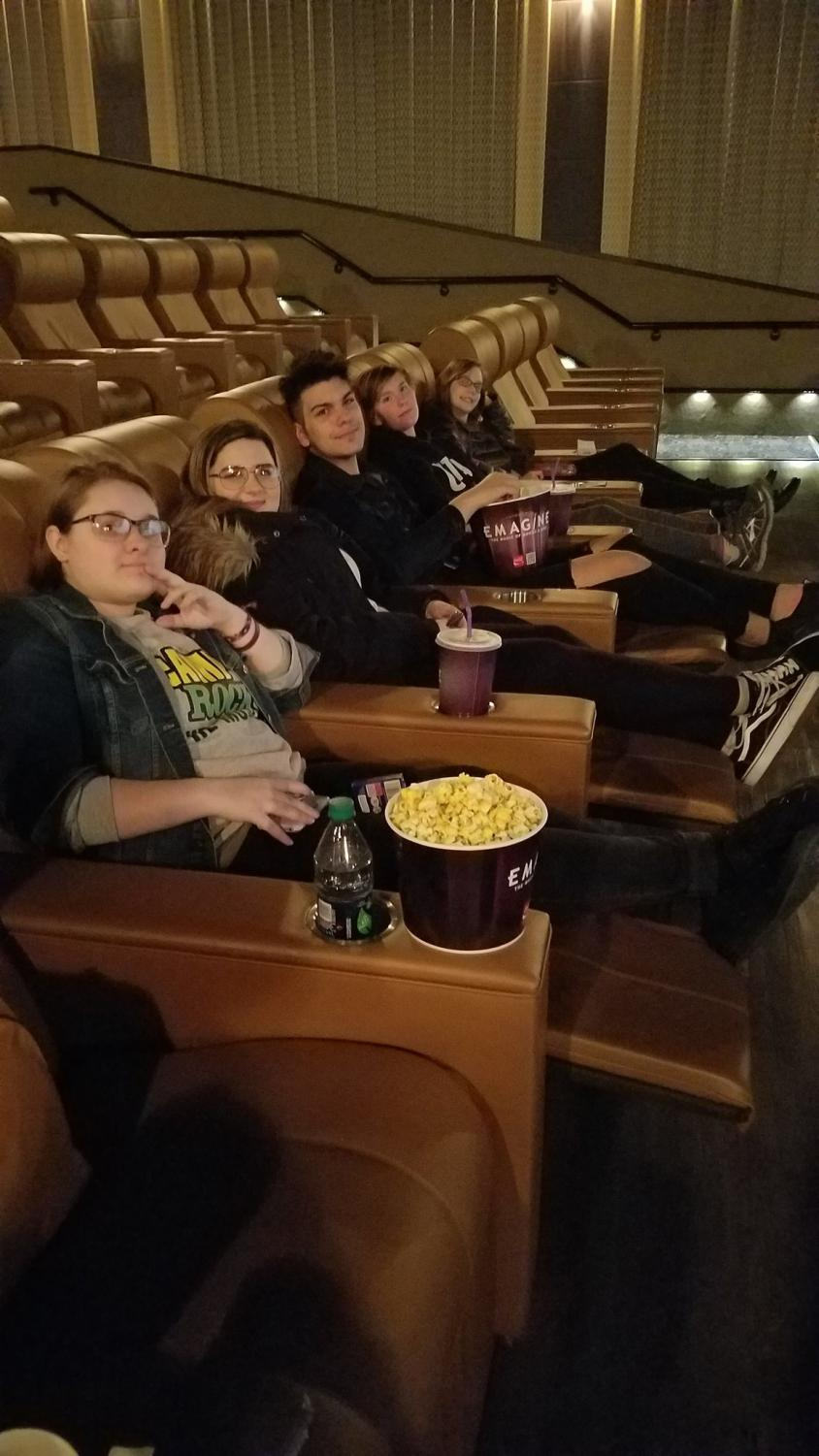 "At an opening week showing of ""Love, Simon,"" Aubrey Zahlmann, McKenzie Sanchez, Jonathan McGee, Veronica Poker and Julia Hodsdon kick back at relax at Imagine Theatre."