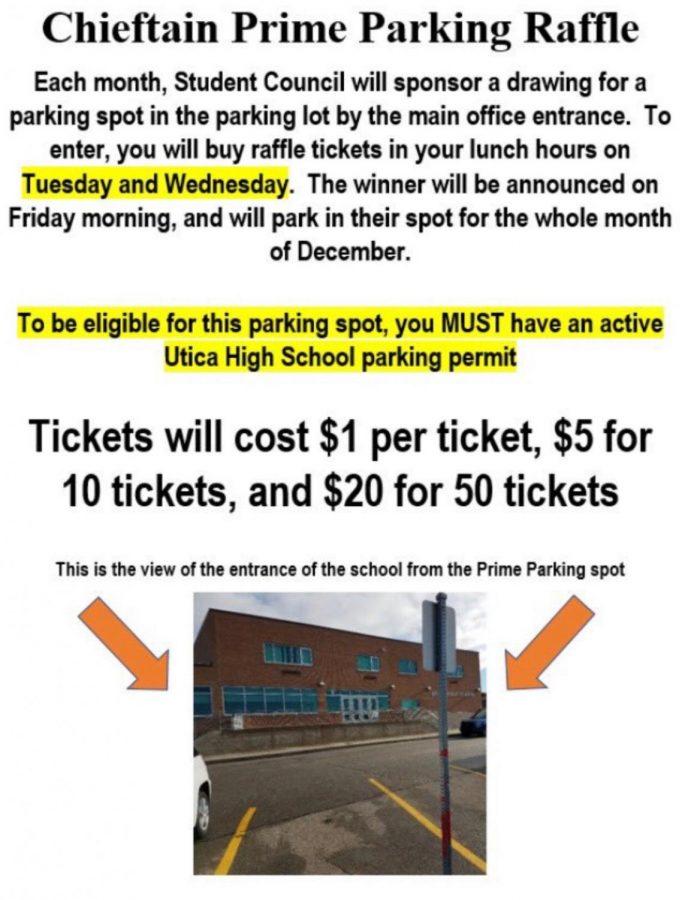 Chieftain prime parking spot raffle