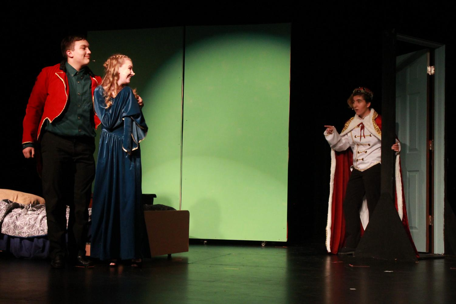 Juniors Ali Jawad, Morgan Nugent and Dez Lacourse portraying the Frog Prince, Princess and King, respectively. PARKER HOPKINS PHOTO