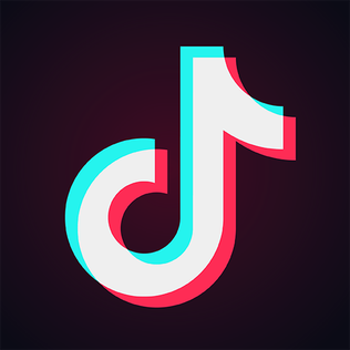 'Tiktok' logo that is meant to resemble a musical note becasuse of the emphasis of music in the app.
