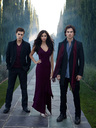 Ian Somerhalder (left), Nina Dobrev (middle), and Paul Wesley from