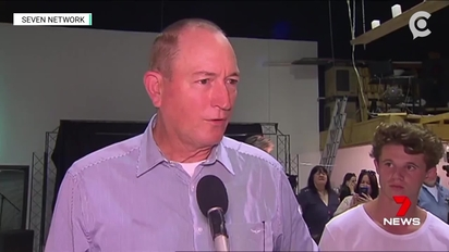 Fraser Anning (left) and Will Connolly (right) attend a Melbourne news conference following the Christchurch massacre.