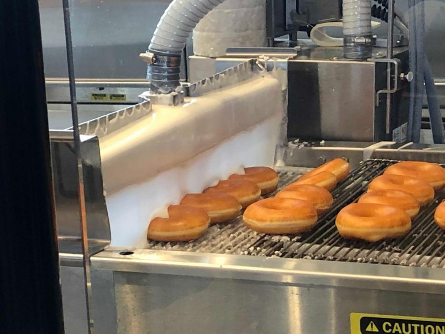 Pictured is the doughnut-making process. This can be viewed from inside the restaurant during certain hours of the day.