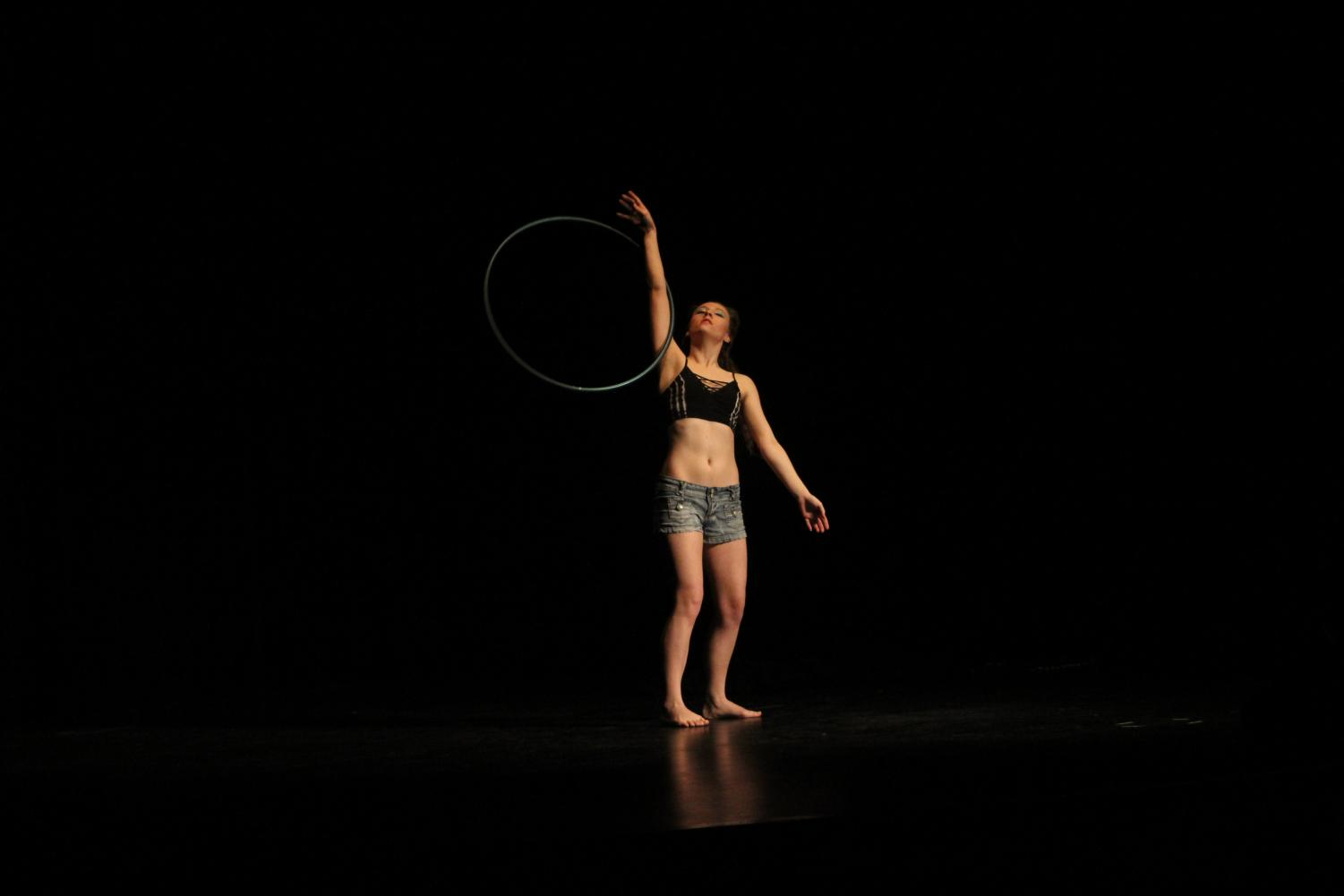Senior Hanna Deckert shows off her talent by performing a hula-hoop dance.