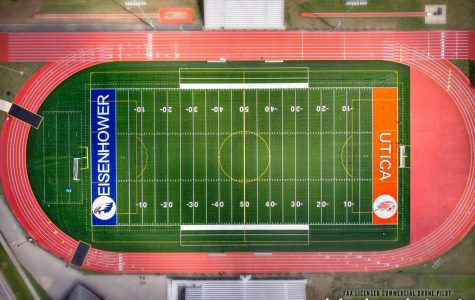 Drone view of the new Swinehart Field turf.