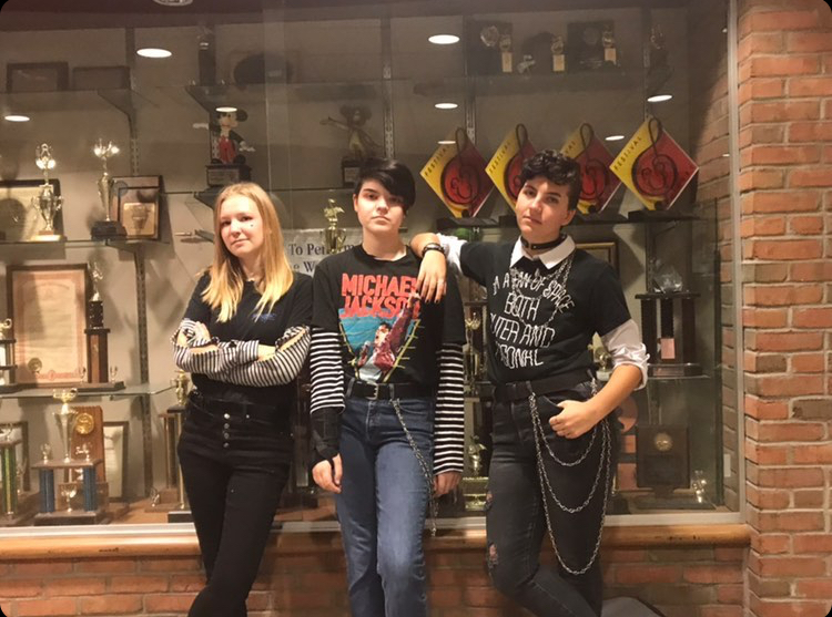 Seniors Morgan Nugent, Alyssa Barocio, and Dez LaCourse dressed up as E-boys for Meme Day on Sept. 25.