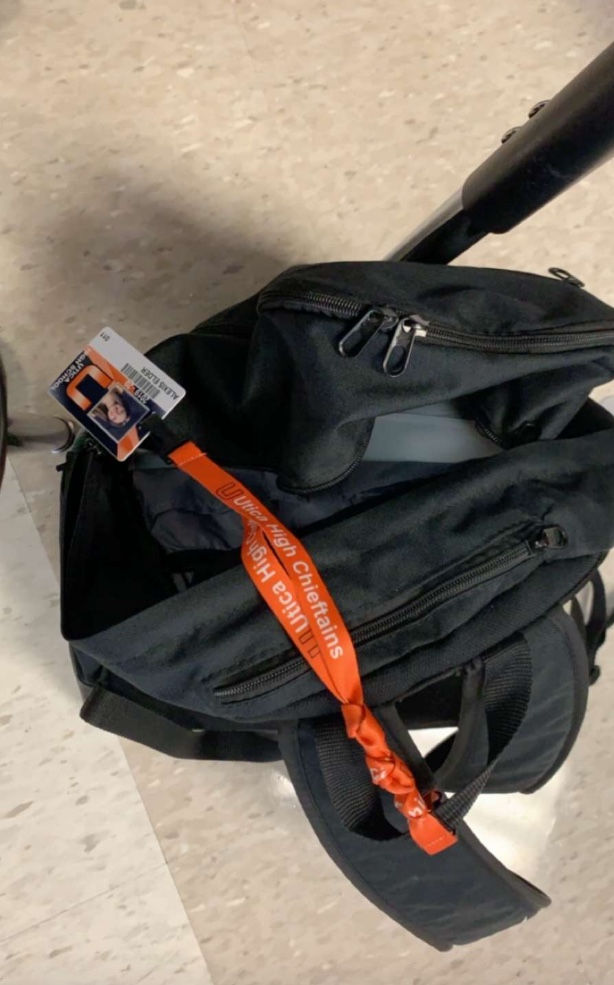 "Junior Alexis Elder keeps her lanyard hooked on her backpack. ""I am a very forgetful person,""  Elder said. ""I put my lanyard on my bag so I don't forget it."""