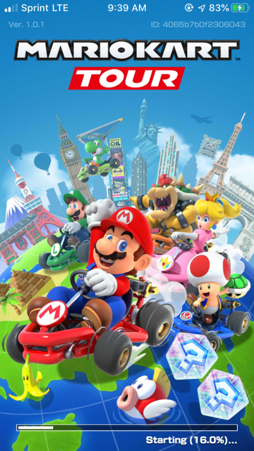 The loading screen for the Mario Kart Tour app.