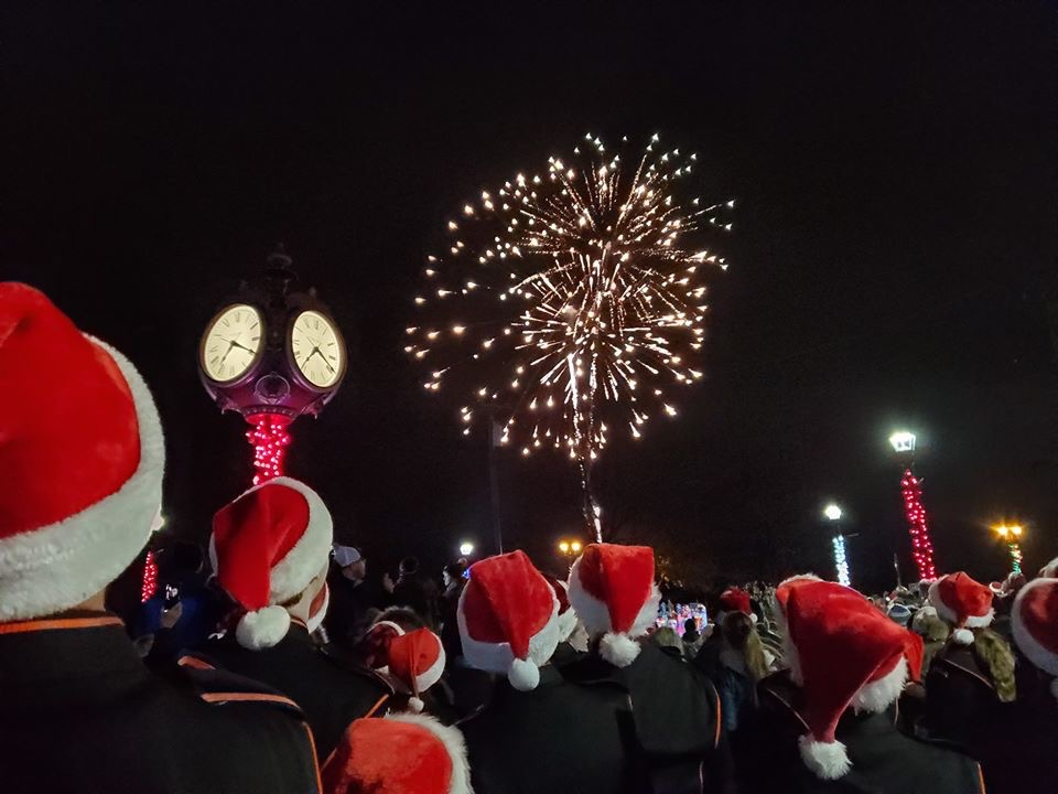 Members of the Utica band performed under the fireworks that were added to the ceremony this year.