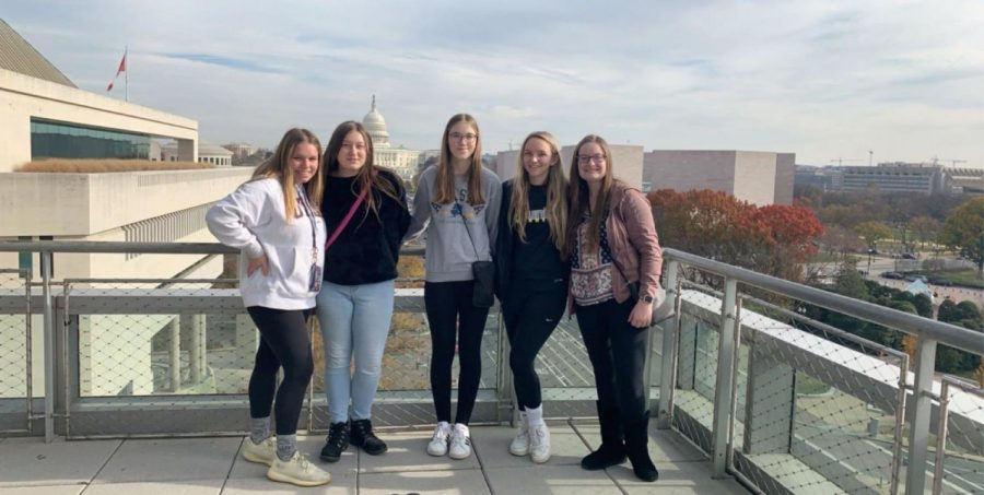 Members of the staff joined for a photo on top of the Newseum.