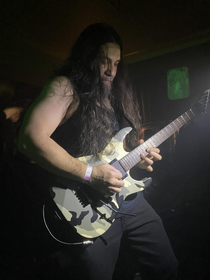 Kenny Andrews, from Obituary, ran out into the crowd to connect with fans during the Saturday night show on March 14 at the Crofoot.