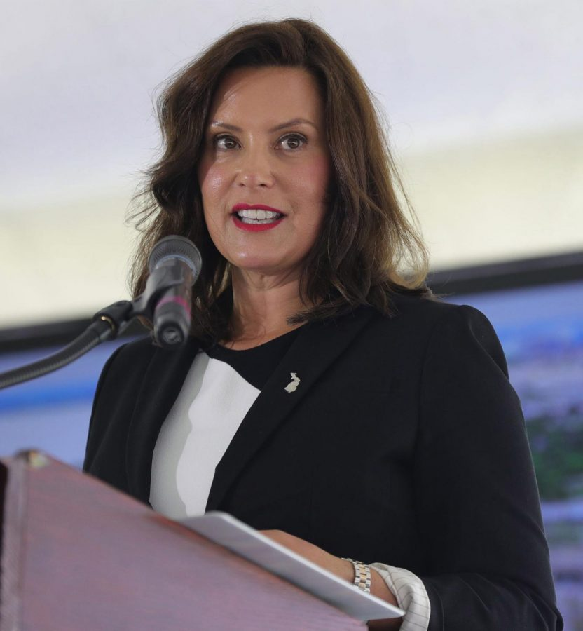 Michigan+Gov.+Gretchen+Whitmer+talks+about+the+infrastructure+for+a+new+Michigan+Connected+Corridor+on+Aug.+13.