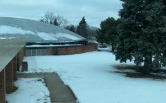 Picture of the Utica High School Auditorium with snow